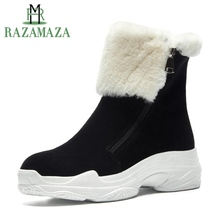 Купить с кэшбэком RAZAMAZA Women Half Short Snow Boots Genuine Leather Winter Warm Shoes Women Plush Fur Zipper Platform Wedges Boots Size 34-41