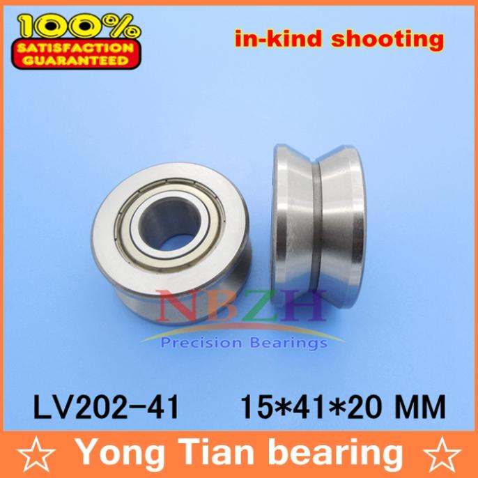 V Groove Guide roller bearings LV202-41ZZ V-41 RV202/15.41-20 15*41*10 (Precision double row balls) ABEC-5 50mm bearings nn3010k p5 3182110 50mmx80mmx23mm abec 5 double row cylindrical roller bearings high precision