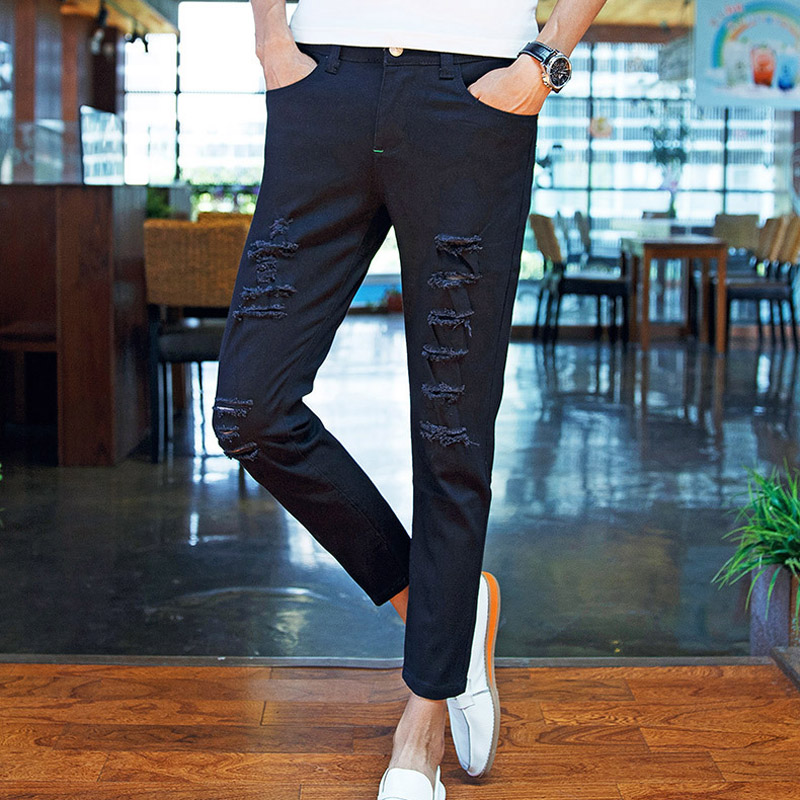 Top quality 2018 Fashion Summer thin Solid Ripped hole black white Slim Denim Casual teenagers trousers men Ankle length pants