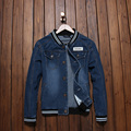 New Baseball Collar Striped Jacket Mens Slim Fit Denim Jacket Men Vintage Fashion Jeans Coats  Plus size 5XL#TBK6800