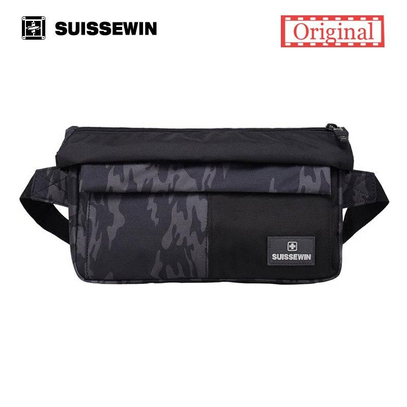 Suissewin Big Waist Bag Men Multi Pocket Fanny Pack Femme