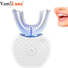 Беспроводной автоматический 3D 360 градусов U острый ленивый Электрический звуковой нано-зубная щетка синий светильник отбеливание зубов
