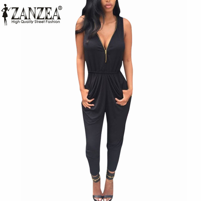 New 2017 ZANZEA Summer Rompers Womens Jumpsuit Sexy V Neck Sleeveless Playsuit Bodycon Casual Bodysuit Long Trousers Plus Size