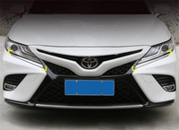 Yimaautotrims Front Head Lights Lamp Eyelid Eyebrow Strip Cover Trim 2 Piece Fit For Toyota Camry 2018 2019 Chromium Styling