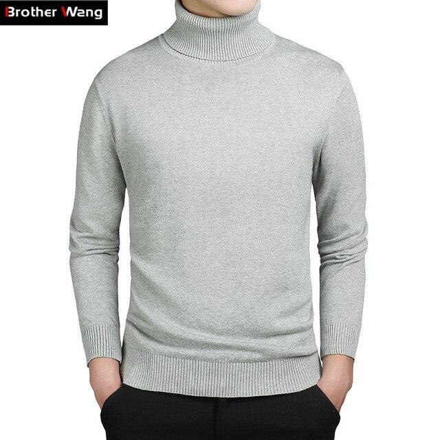 Зимние новые Люди свитер Бизнес случайный чистый цвет пуловеры мужской самосовершенствование и тепло Трикотажные грунтовки рубашку