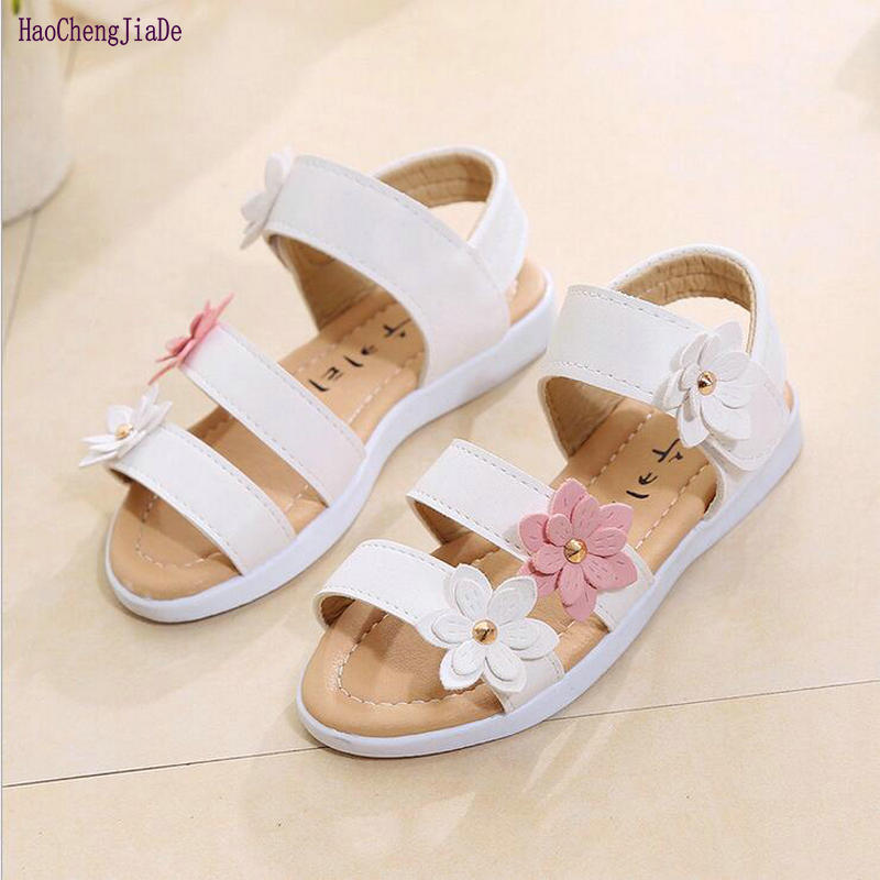 2018 New Arrival Flower Girls Sandals For Children Summer Princess Flat Shoes Baby Cute Toddler Kids Leather Sandal Girl Shoes
