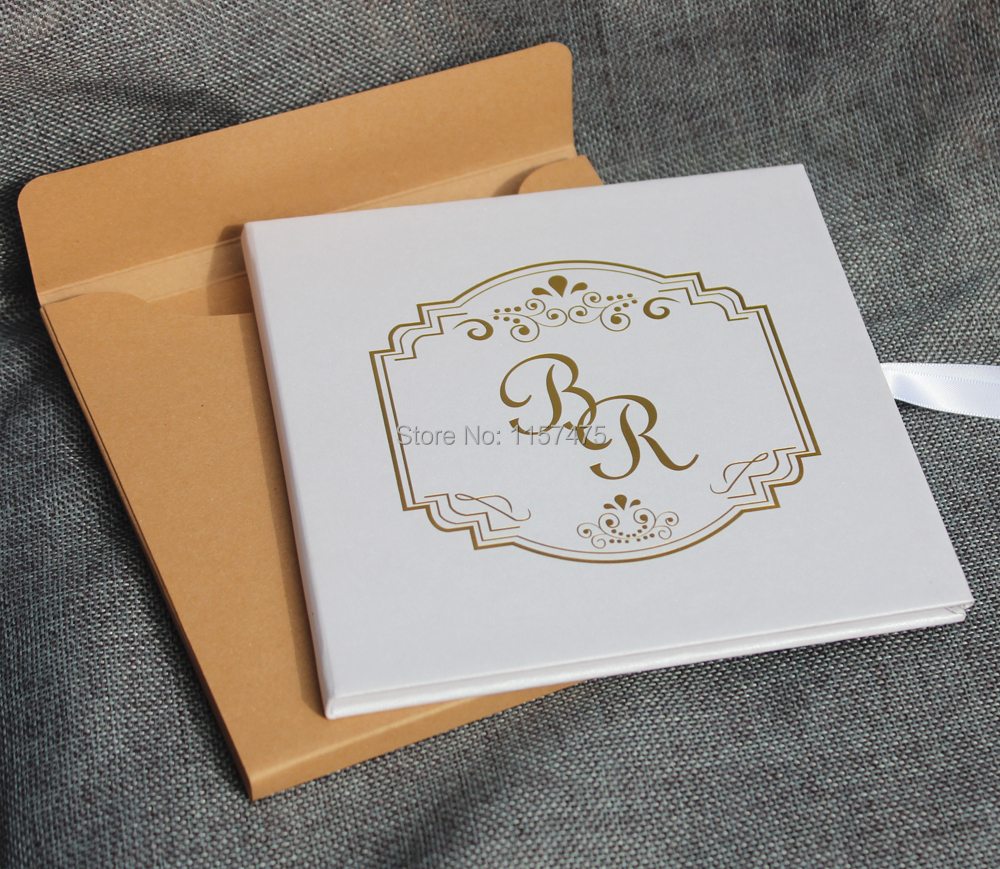 HI1112 Fancy White Hard Cover Wedding Invitation Card with Gold ...