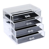 FUNIQUE Transparent Color 4 Layer Clear Make Up Display Lipstick Stand Case Cosmetic Organizer Holder Hot