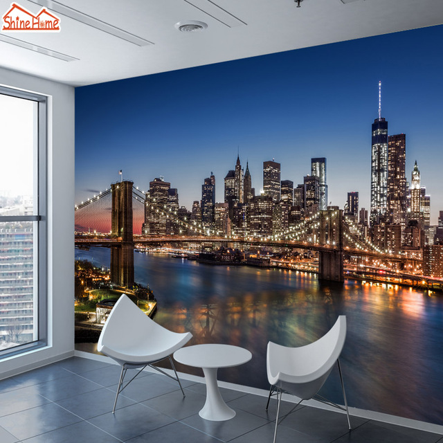 ShineHome Wallpapers For Walls 3 D Living Room Bedroom Wallpaper NYC Skyline City Building Background