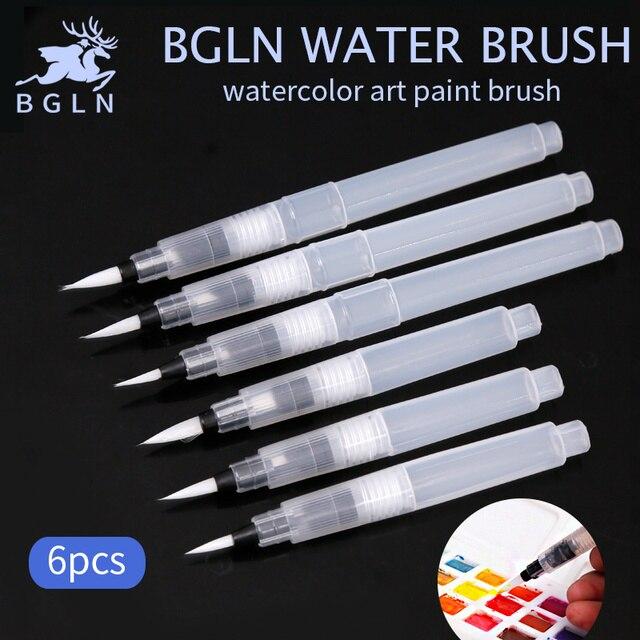 Bgln 6Pcs/set Large Capacity Water Brush Soft Watercolor Art Paint Brush Nylon Hair Painting Brush For Calligraphy Pen