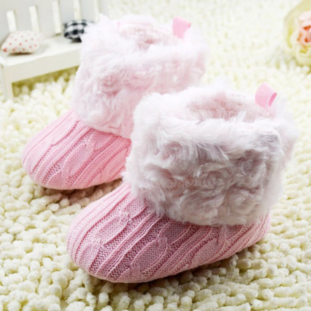 Infant Baby First walkers Crochet/Knit Boots Booties Toddler Girl Winter Snow Crib Shoes
