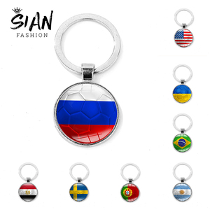 SIAN Fashion World National Flag Keychain USA UK Brazil Russia Creative Football Printed Key Chain Country Soccer Club Fans Gift(China)