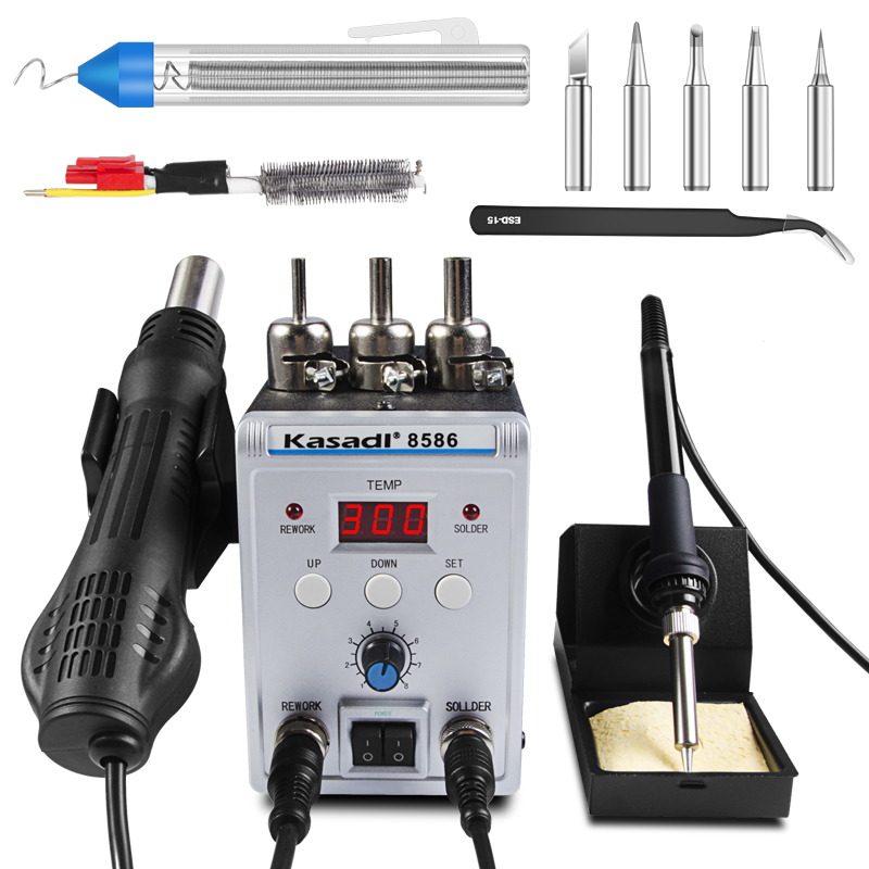 220V 8586 Soldering Station Digital Hot Air Gun Welding Solder Iron For IC SMD Rework station with Heating core 220v 858d digitalhot air gun soldering station welding solder iron for ic smd rework station with heating core