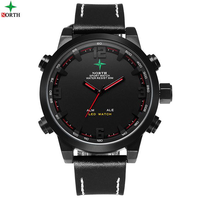 Masculino Sports Watch Analógico-Digital relógio LED relógio de Pulso de Aço Inoxidável À Prova D' Água Militar de Pulso de Quartzo 2017 Homens Relógio Do Esporte