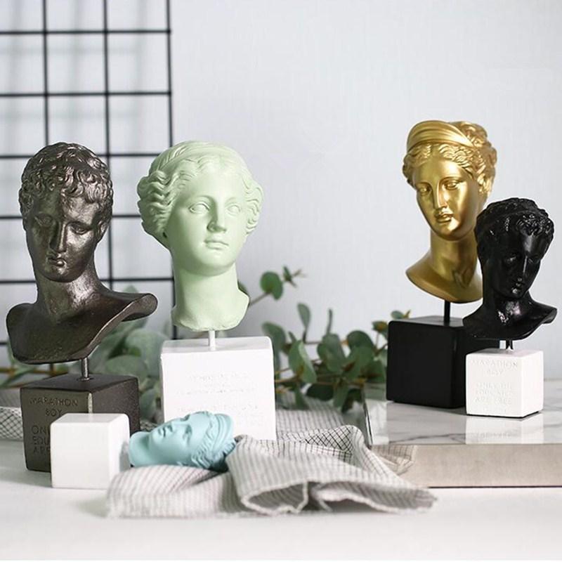 Roman Mythology Venus Bust Artemis Marathon Boy Head Portraits Statue Resin Craftwork Home Furnishing Articles L2407