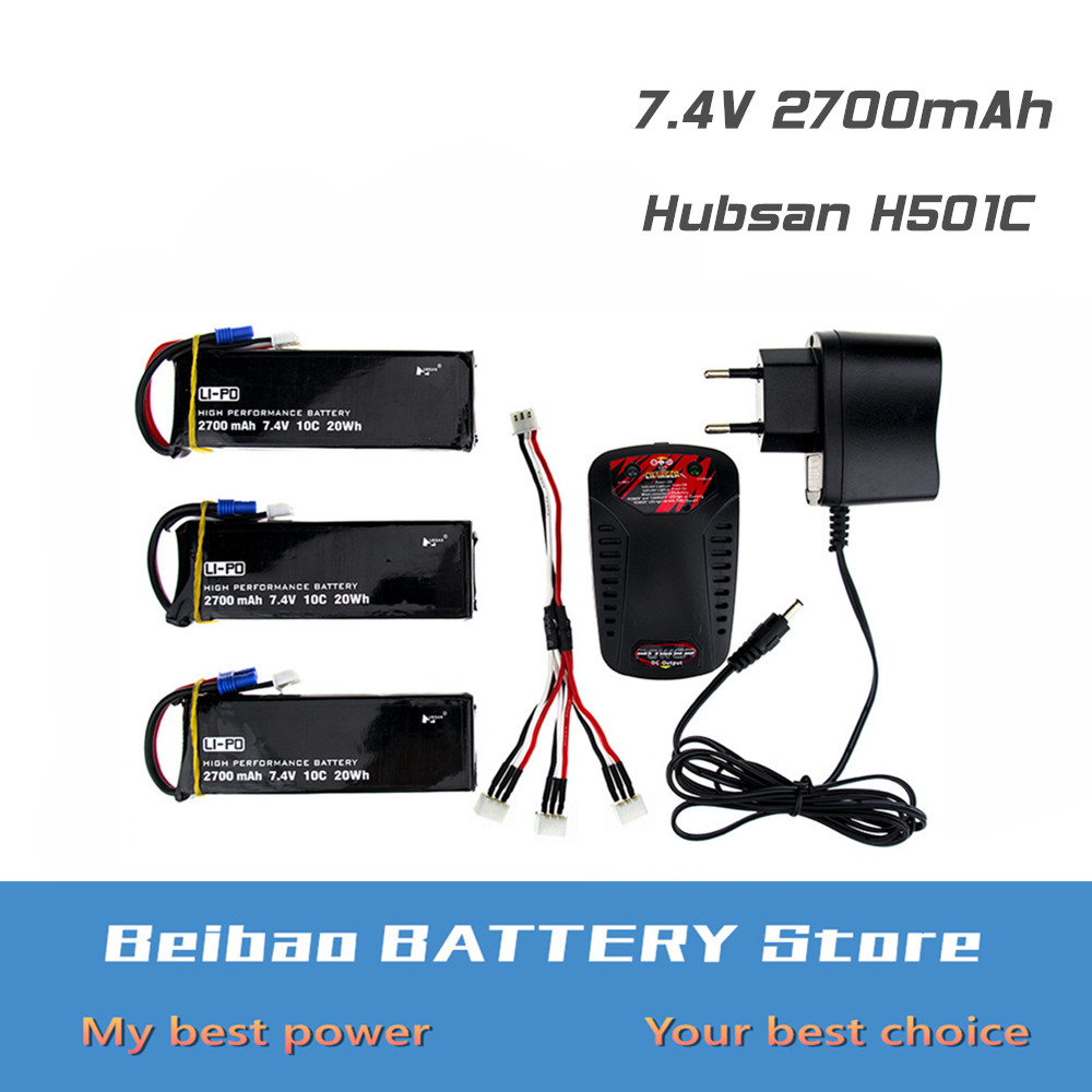 3 4 5 6 pcs Hubsan H501C H501S lipo battery 7 4V 2700mAh 10C Batteies with