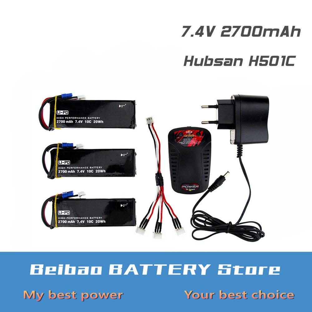 3 4 5 6 piezas Hubsan H501C H501S lipo batería 7,4 V 2700mAh 10C Batteies con cargador rc piezas de repuesto para Dron Quadcopter-in Baterías recargables from Productos electrónicos    1
