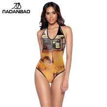 New Design WALL- E robot Print Women Monokini Halter Backless One Piece Swimsuit Y01019(China)