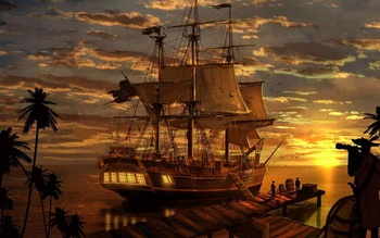 Klassieke woonkamer art muur decor fantasy piraat piraten schip boa