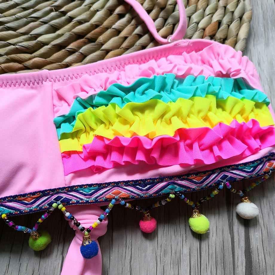 2-8 Tahun Bayi Perempuan Baju Renang Anak Balita Gadis Bikini Dua Potong Anak Bayi Gadis Pakaian berenang Memakai Merah Muda