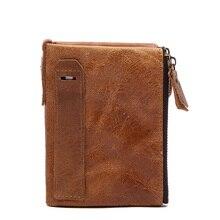 Klassische Echtleder Brieftasche Männer Vintage Geldbörse aus echtem Leder Männer Brieftaschen Retro männlichen Geldbeutel kleine Geld Tasche Male Wallet