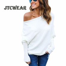 JTCWEAR Autumn Slash Neck Woman Sweater One Shoulder Fit Flare Batwing Long Sleeve Loose Casual Lady Knitted Sweater Shirts 508