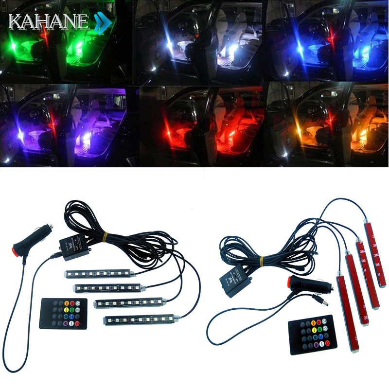 Car Styling Atmosphere Lamps Interior Light with Remote RGB LED Strip Light Music Control LED 8 Colors for Universal Jeeps for toyota corolla avensis yaris rav4 auris hilux prius app control car interior atmosphere decoration lamp rgb led strip light