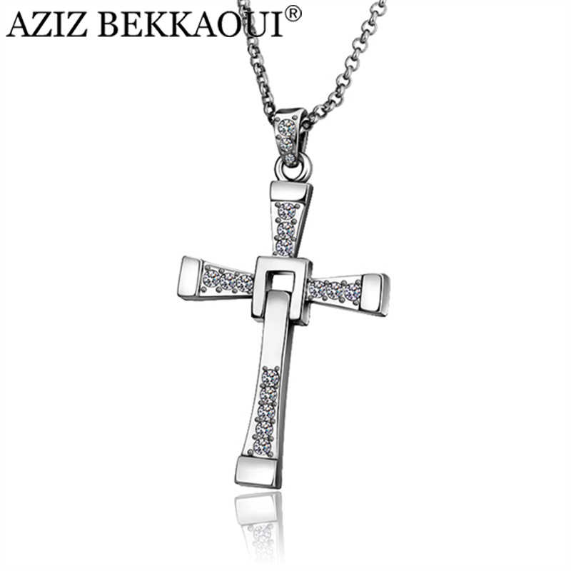 Cross Necklace For Men Stainless Steel Necklace For Women Crystal Pendant Necklaces Men Jewelry The Fast and the Furious Toretto