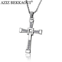 Cross Necklace For Men Stainless Steel Necklace For Women Crystal Pendant Necklaces Men Jewelry The Fast and the Furious Toretto(China)