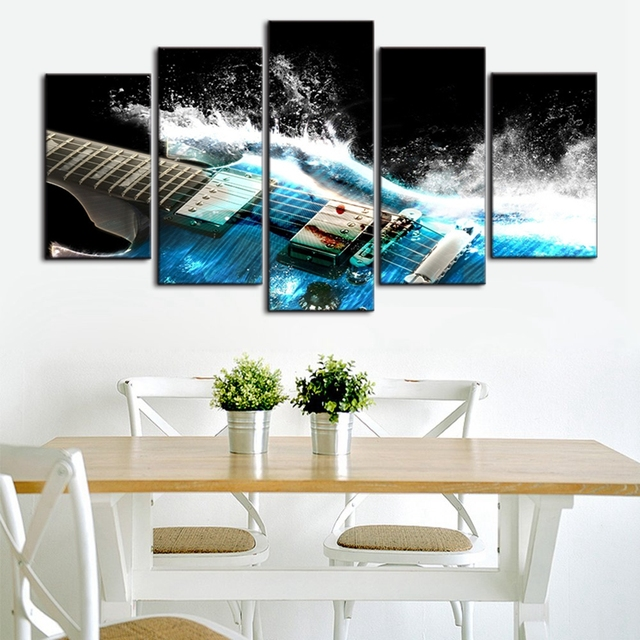 Cool abstract guitar wall art print canvas painting home decor for living room 5 panels artwork