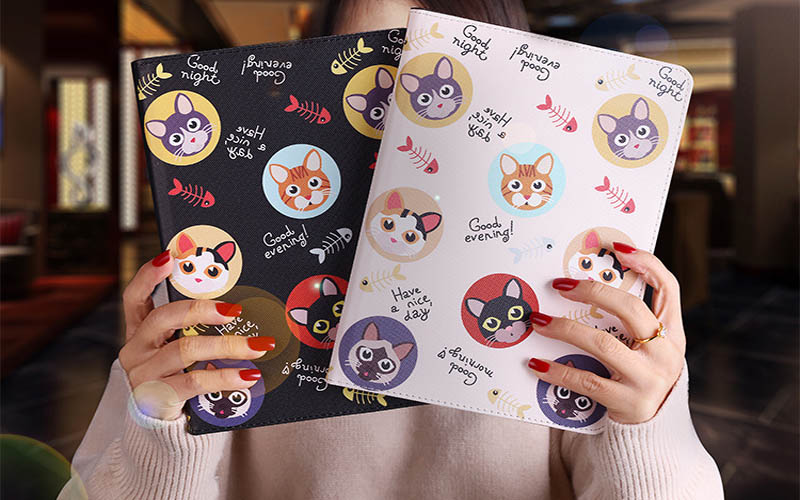 Tablet protective case For ipad pro 10.5 Flip smart stand cover pu leather Cute cat Cartoon illustration Case For ipad pro 10 (8)