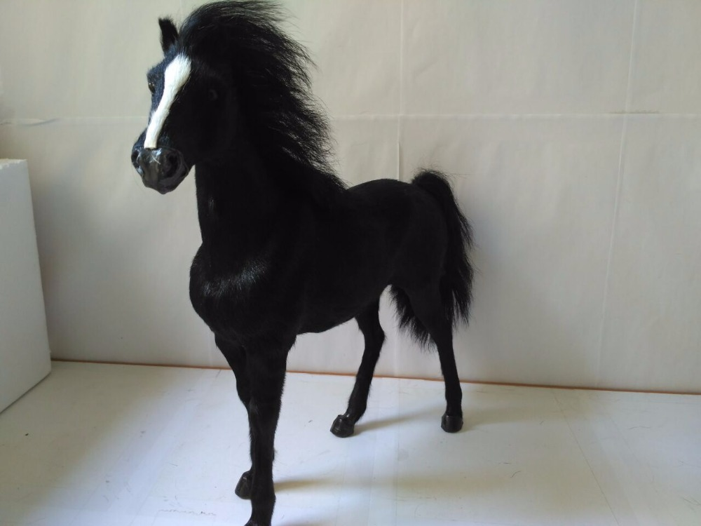 big simulation black horse model plastic fur war horse toy gift about 34x36cm