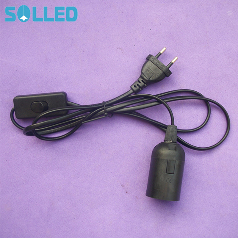 SOLLED E27 Hanging Lamp Holder Lights Base With 1.8M Cord & On/Off Switch EU Plug (Black)