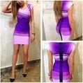 4 Colores de Calidad Superior Colorful Square Collar HL Manga Corta Vestido Del Vendaje de Bodycon Vestido Elegante
