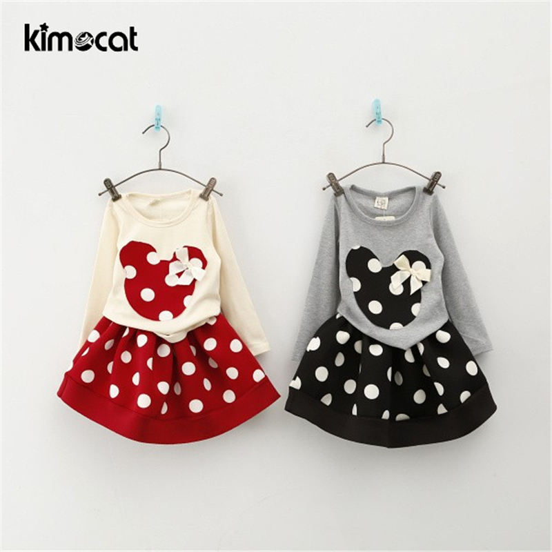 Kimocat Spring and autumnNew Children Girls 2PC Sets Skirt Suit Minnie Mouse baby sets dots skirt dots pants kids
