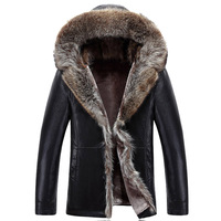 2016 Winter New Men S Fashion Hooded Jacket PU Leather Collar Warm And Comfortable Soft PU