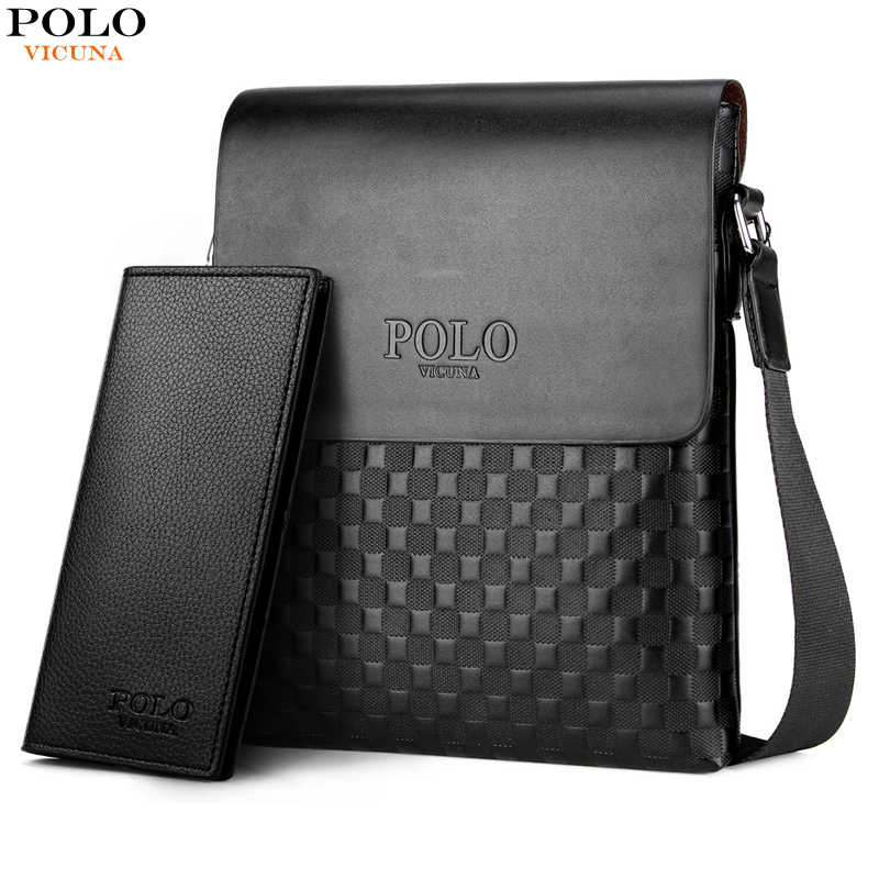 a8df0f4854 VICUNA POLO Leather Plaid Pattern Men s Shoulder Bags Vintage Business Man  Bag Crossbody Bag For Men