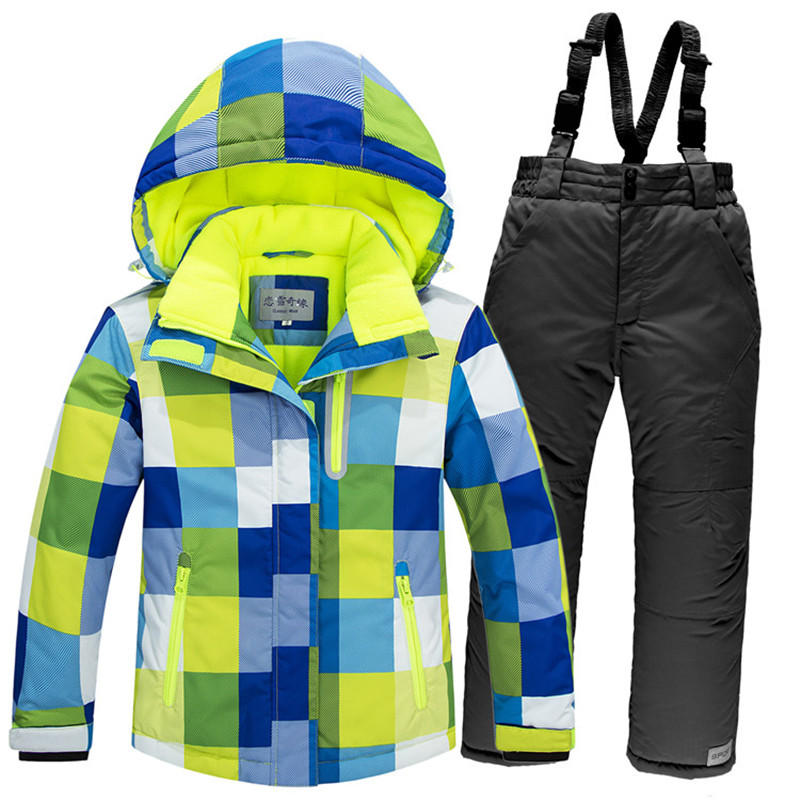e126999df Winter Children's Ski Suits Super Warm Wear Resistant Ski Jacket Pants for Kids  Boys Girls Plaid Pattern Snowboarding Snow Suits-in Skiing Jackets from ...