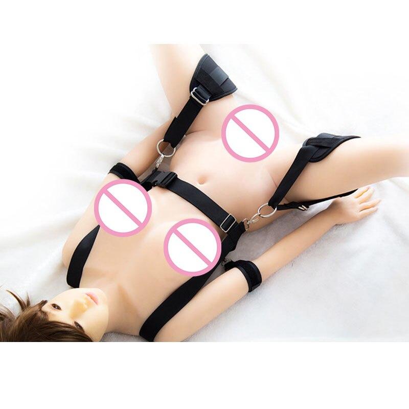 Buy sex toys couples Women Restraint positioning Bondage Open Crotch Belt HandCuffs Fetish Kinky BDSM Slave Womanizer Adult Game