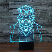 Star Wars 3D Villain Jedi Led Night Light 7colors Mood Lamp Touch Button living/bedroom table/desk lighting USB led Lamparas