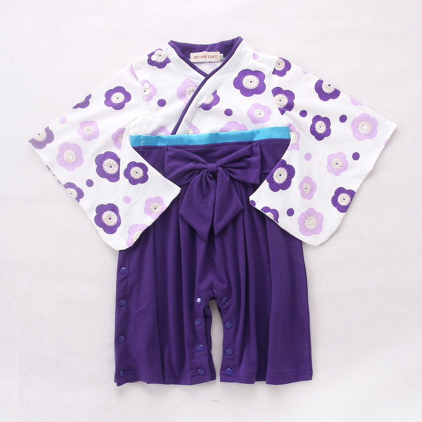 Baby Romper Girls Floral Print Japanese Kimono Boys 2 PCS Cotton Jumpsuit Outfit  Infant Bebes Long Sleeve Coveralls D0307
