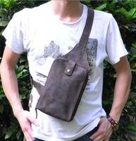 Pack Bag Men Shoulder Sling Genuine Horse Leather Crazy Horse Genuine Leather Messenger Crazy Chest Fashion