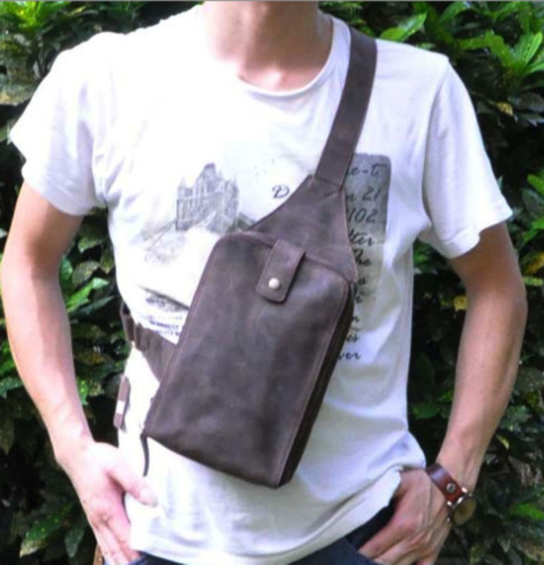 Men Crazy Horse Genuine Cowhide Leather Cross body Bag Sling Chest Pack Messenger Shoulder Day Back Pack