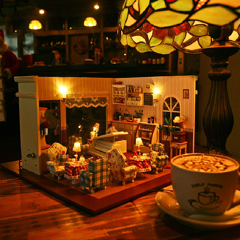 Diy Doll House coffee shop Miniature Wooden Building Model  Dollhouse with Furniture light music dust cover lover giftDiy Doll House coffee shop Miniature Wooden Building Model  Dollhouse with Furniture light music dust cover lover gift