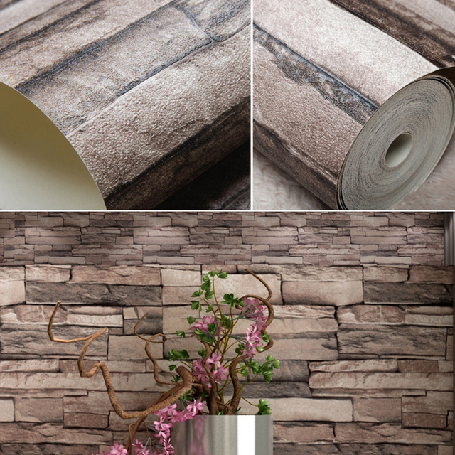 Vintage Faux Stone Brick Wallpaper Removable Wall Pattern Room Decoration Background