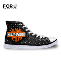 FORUDESIGNS Womens High Top Vulcanized Shoes Fashion Women Harley Davidson Design High Top Canvas Shoes For