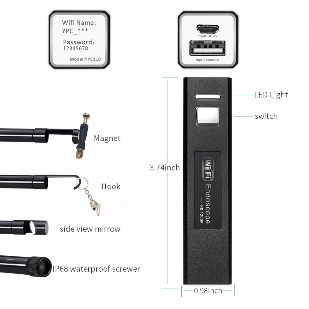 Камера-эндоскоп KERUI, водонепроницаемая мини-камера-бороскоп с мягким USB-кабелем, 1 м, объектив 8 мм, поддержка Wi-Fi, связь с устройствами на iOS, ...