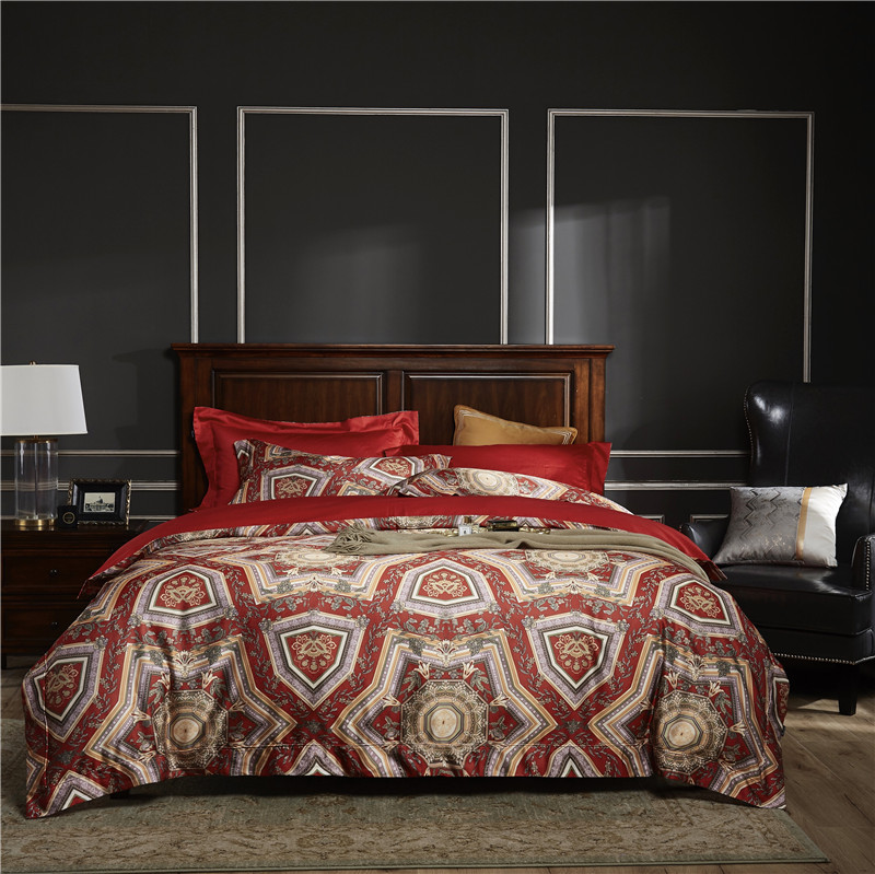 Bedding-Set Pillowcases Bed-Sheet Duvet-Cover Bed Linen Printing Egyptian Cotton American-Style