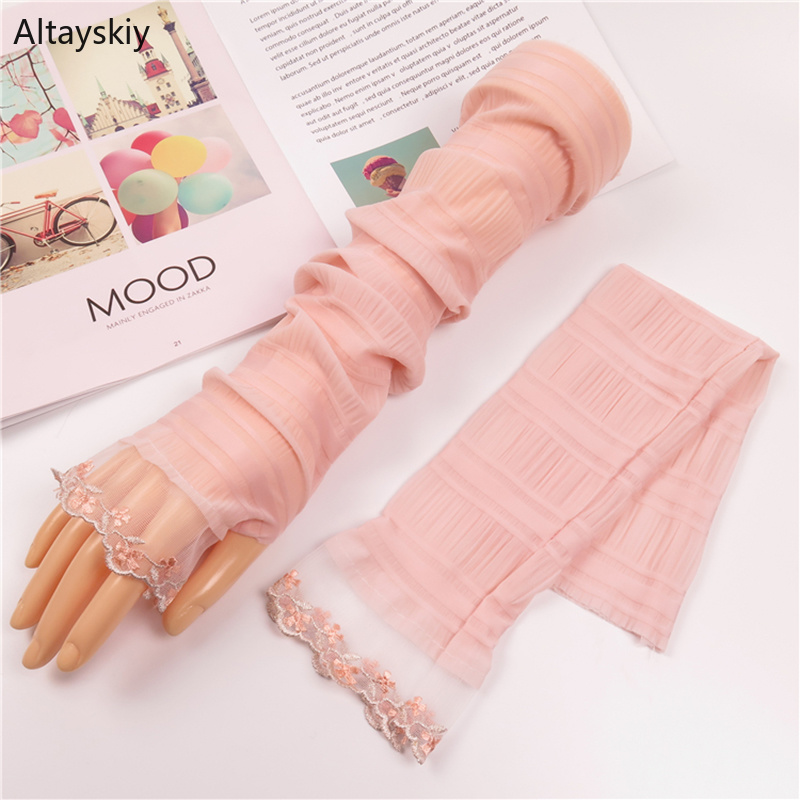 Arm Warmers Women Summer Thin Breathable Sunscreen Solid Lace-up Patchwork Womens Sleeve Kawaii Simple All-match Leisure Outdoor