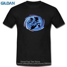 Summer New Cotton T Shirt Printing Men Skier Wakeboard  O-Neck Short-Sleeve